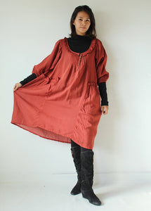 Semi long sleeves dress  (361D)...Rose Red  mixed silk in 4 sizes(361)