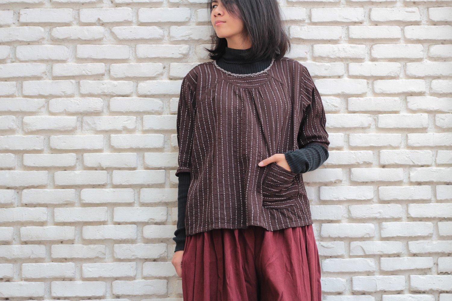 Blouse Dark Brown Hand Embroidery Blouse..B1477