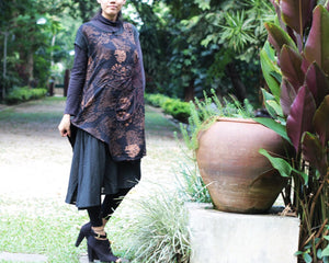 Dress two layer  in Black prient  (1160)