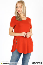 Short Sleeve Button Hip Top in 1 more color