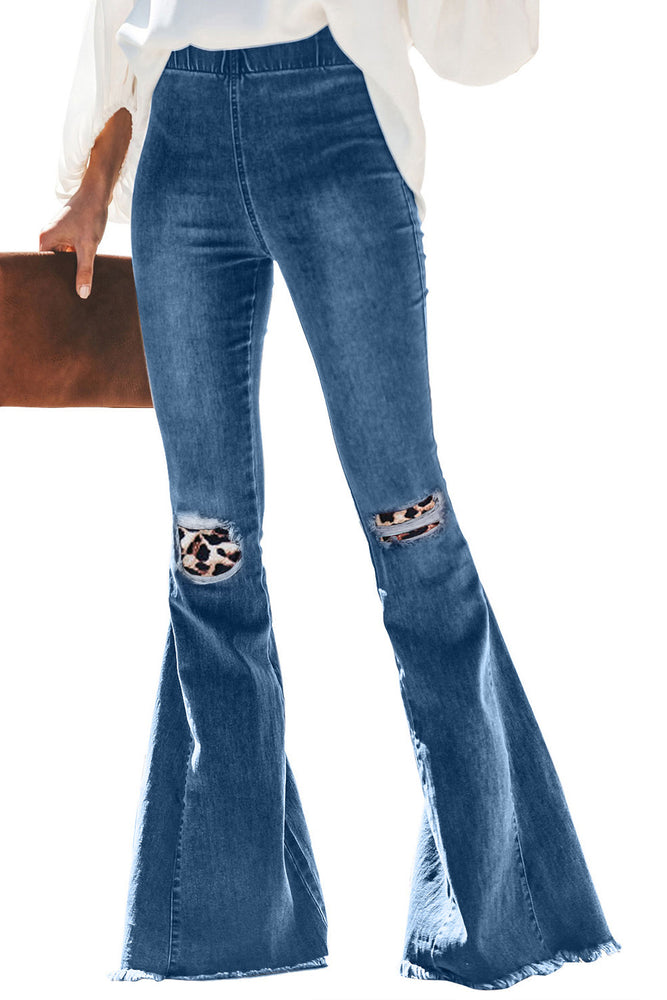 Boho leopard bell bottom Jeans