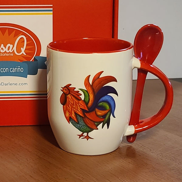 De Colores Rooster Mug with Spoon