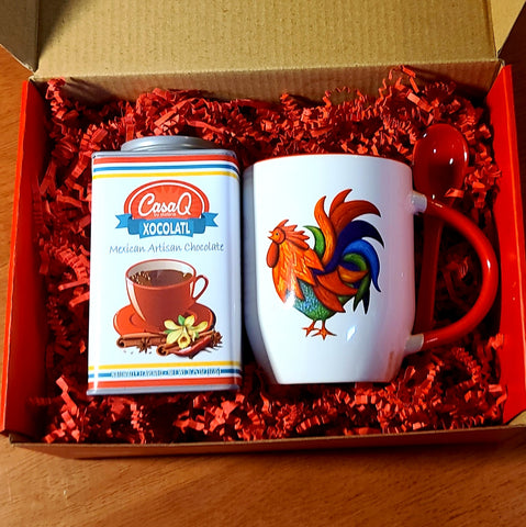 CasaQ Xocolatl Hot Chocolate & Rooster Mug Gift Set