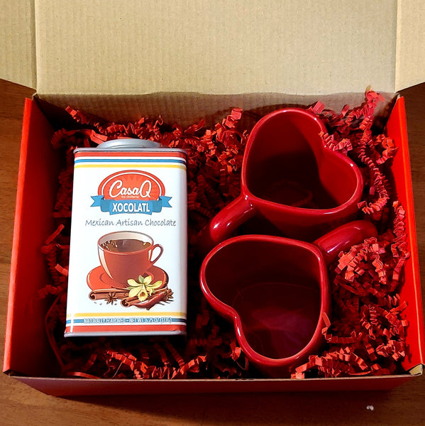 I ❤ Xocolatl Chocolate & Heart Mugs Gift Set