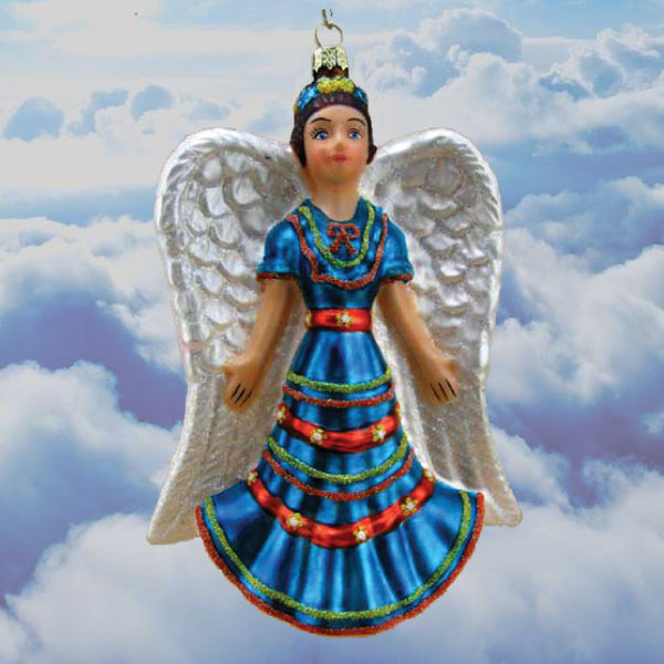 Angelita Azul (Angel w/Blue Dress) Folklorico  Fine Hand-Painted Glass Ornament by CasaQ