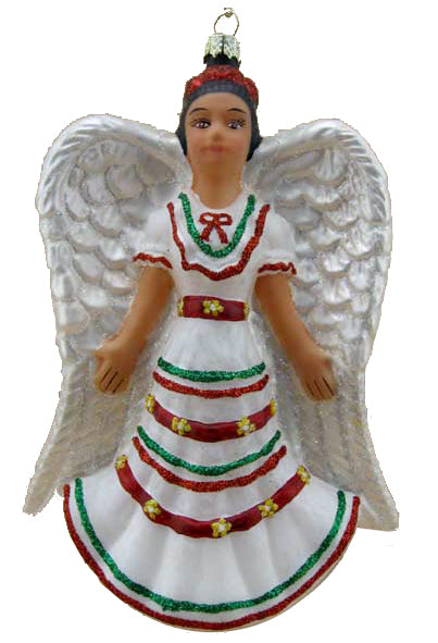 Angelita Blanca (Angel w/White Dress) Folklorico Fine Hand-Painted Glass Ornament by CasaQ