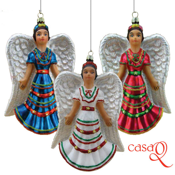 Angelita Rosa (Angel w/Hot Pink Dress) Folklorico Fine Hand-Painted Glass Ornament by CasaQ