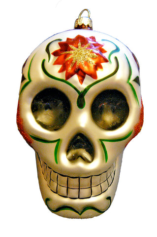 Christmas Calaveras Day of the Dead Skull Fine Hand-Painted Glass Ornament by CasaQ