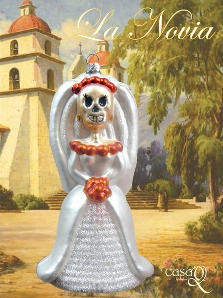 La Novia Day of the Dead Fine Hand-Painted Glass Ornament by CasaQ
