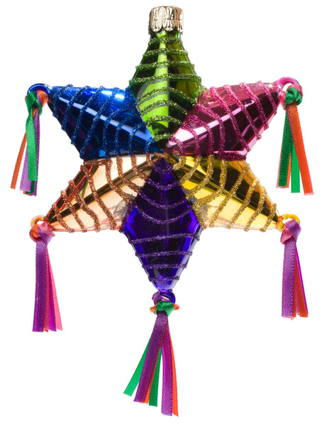 Star Piñata Fine Hand-Painted Glass Ornament by CasaQ