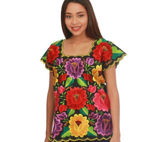 Yucatán Flores Embroidered Blouse