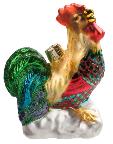 De Colores Gallo Rooster Fine Hand-Painted Glass Ornament by CasaQ