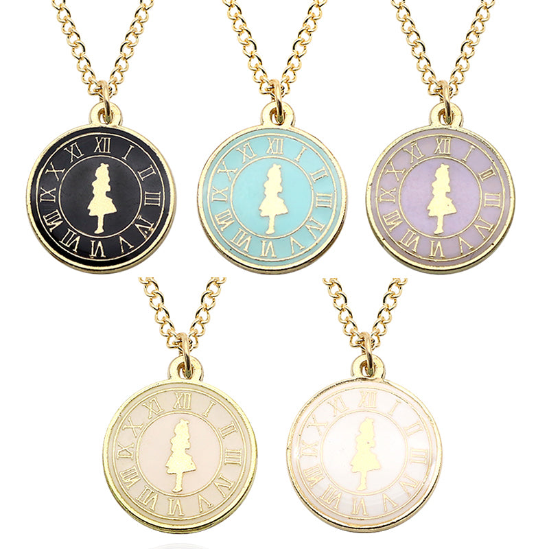 Fashion Alice Girl Clock Necklace Gold Metal Enamel Cute Charm ...