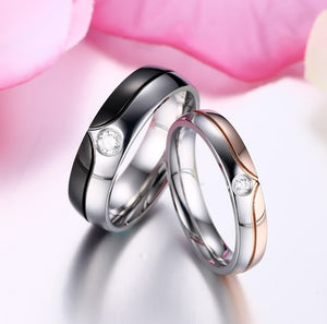Engagement Rings Stainless Steel CZ Stone Engagement Anniversary Couples Rings