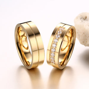 Engagement Rings His and Hers AAA+ Cubic Zirconia Couple Ring Gold Color
