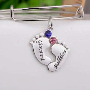 Bracelets Personalized Baby Feet Name Birthstone Bangle