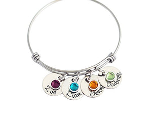 Bracelets Stainless Steel Bangles Custom Names & Birthstone