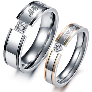 Engagement Rings My Lovers Crystal Rings For Couple Stainless Steel