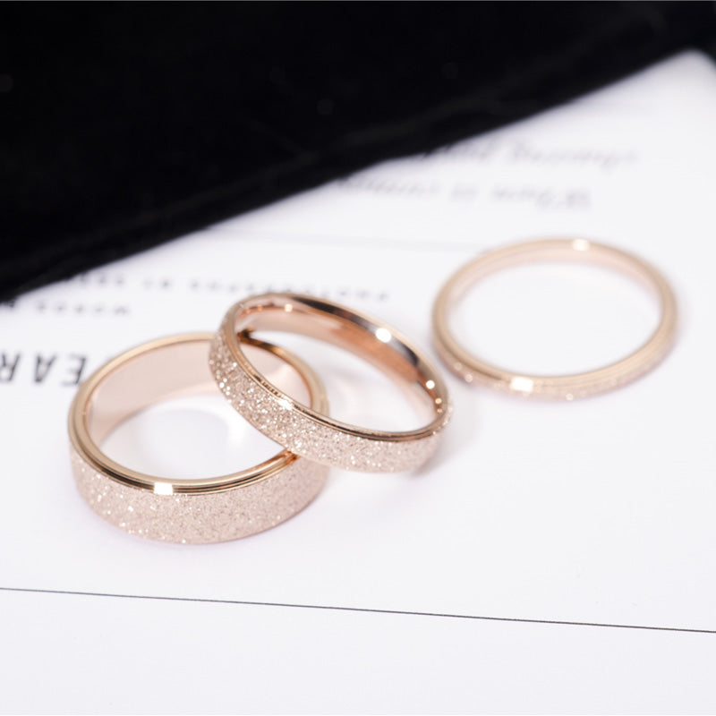 Engagement Rings Rose Gold Color Frosted Ring for Women
