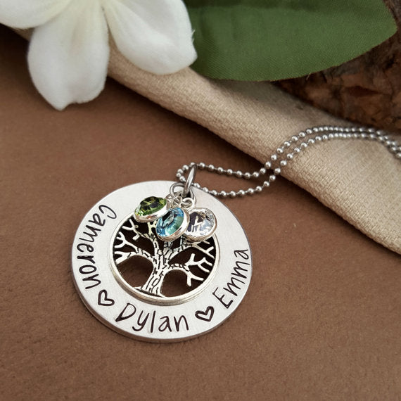 Necklace Personalized Silver Necklace Family Tree