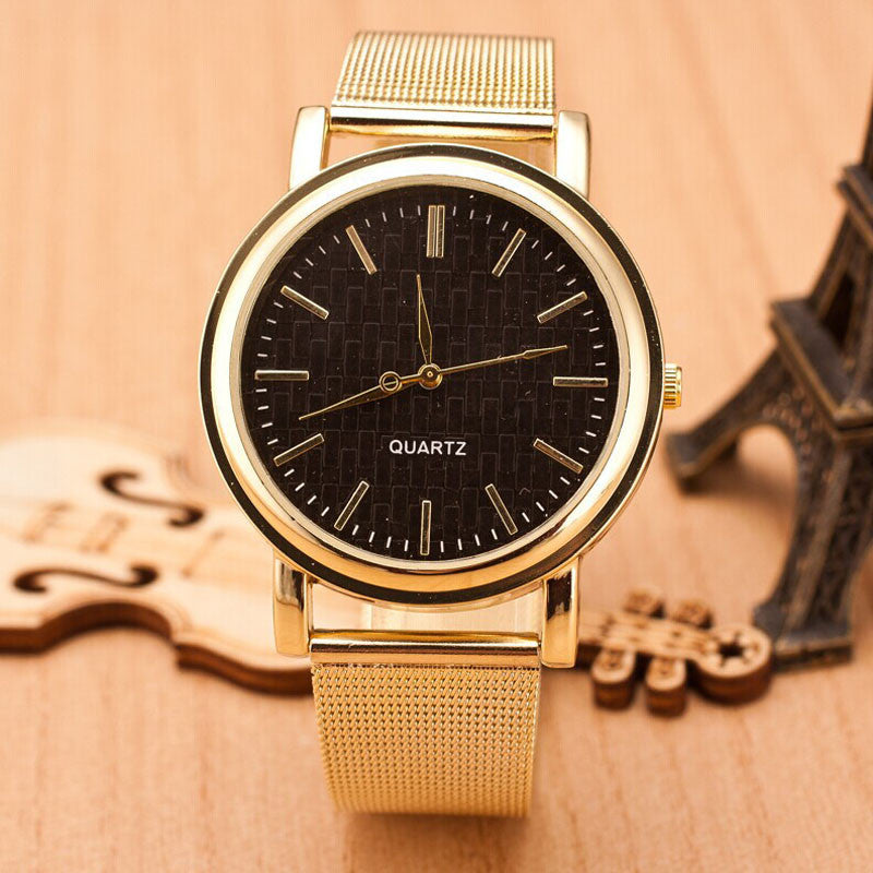 Watches New Lady Style Womens Gold Classic Quartz Stainless Steel Wrist Watch