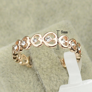 Engagement Rings Heart Link Rose Gold Color Love Ring