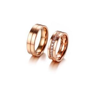 Engagement Rings His and Hers Rose Gold Couples Ring Set