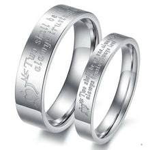 Engagement Rings Engraved Silver Color Pair Couples Rings Stainless Steel