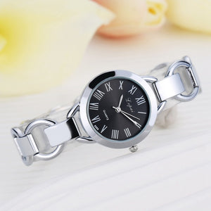 Watches Glass Dial Crystal Round Wristwatch