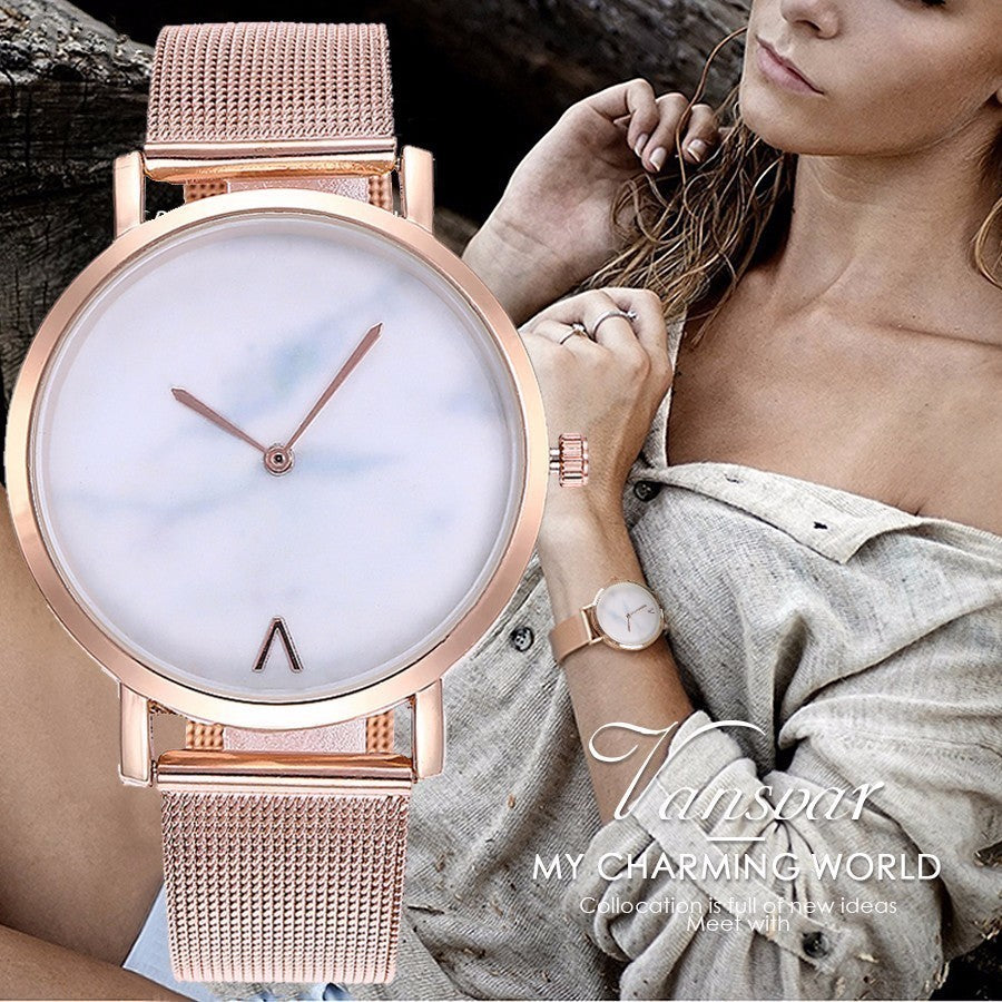 Watches Creative Mesh Band Marble Quartz Women Stainless Steel Wristwatch