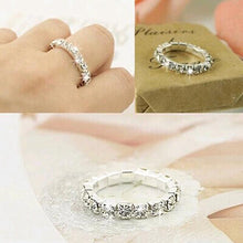 Engagement Rings Elastic Bright Silver Full Rhinestone Finger Rings For Women