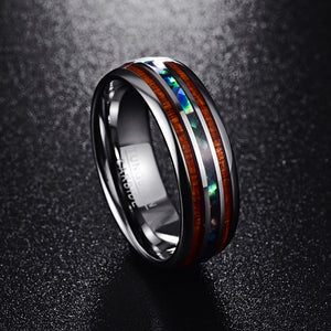 Engagement Rings Hawaiian Koa Wood and Abalone Shell Tungsten Wedding Bands for Men