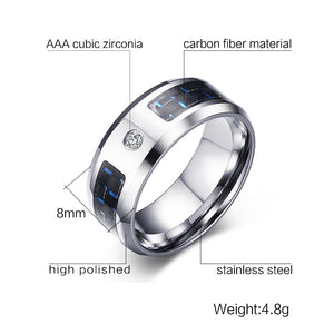 Engagement Rings Black and Blue Men's Zircon Finger Ring