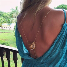 body jewelry Ladies Bare Back Necklace With Gold Butterfly