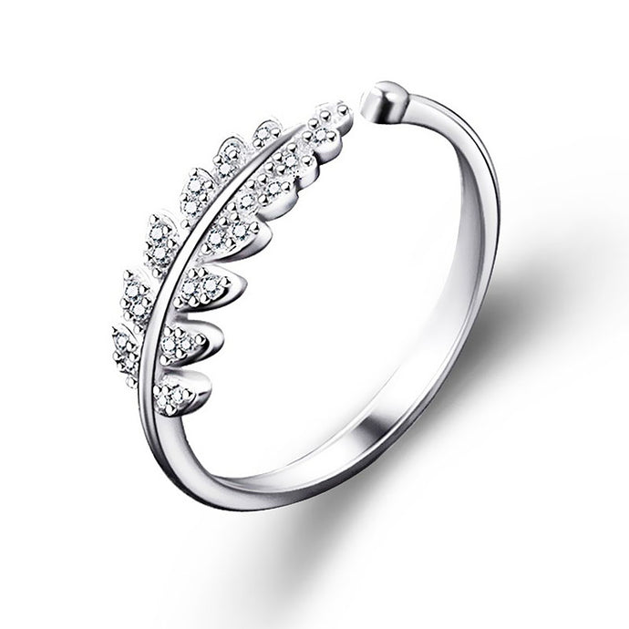 Engagement Rings Leaf Stream Rhinestone Ring