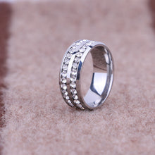 Engagement Rings Double Row Women Rings Stainless Steel
