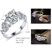 Engagement Rings Single Prong Leaf Flower Silver Wedding Ring