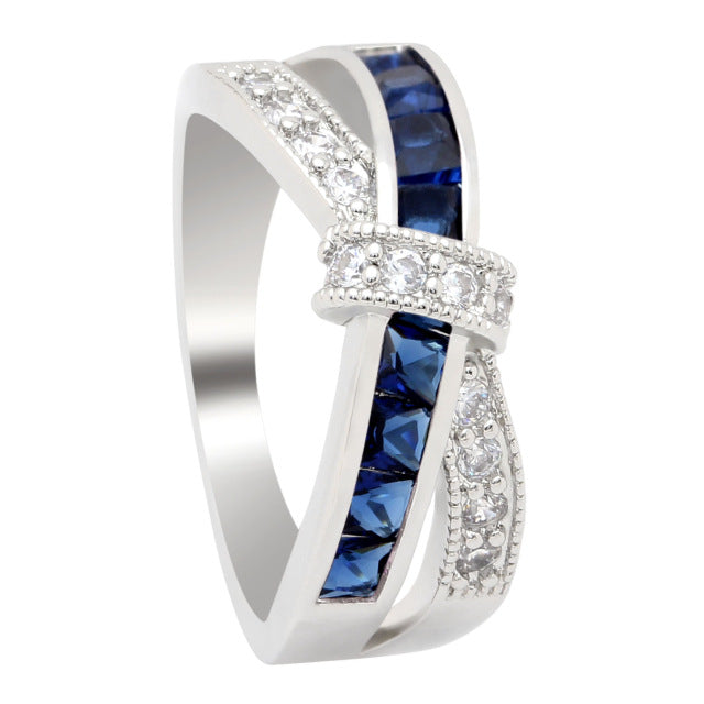 Engagement Rings Paved Zirconia Crossed Fashion Ring For Ladies