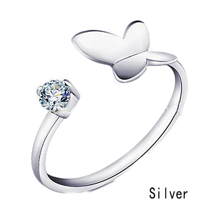 Engagement Rings Butterly Silver Plated Open Ring Adjustable
