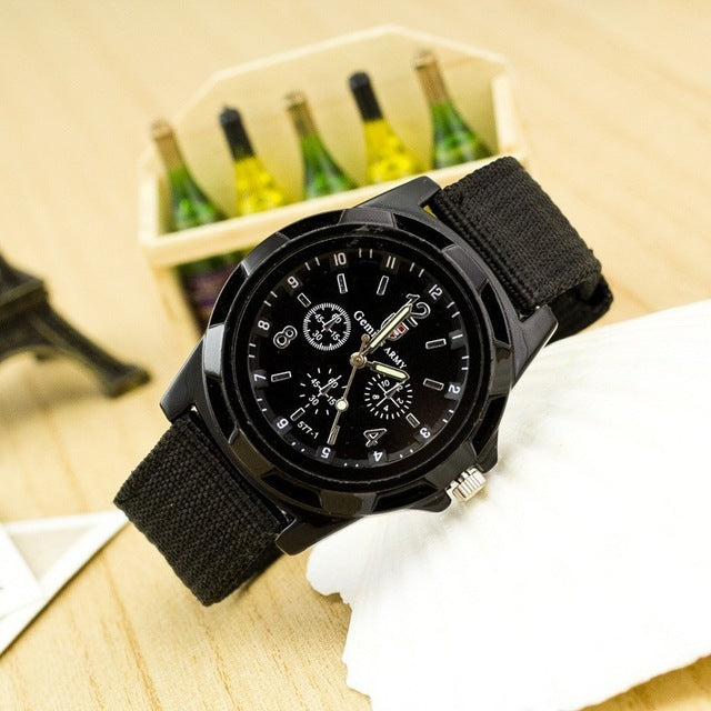 Watches Men Quartz Army Soldier Military Canvas Strap Analog Wrist Watches
