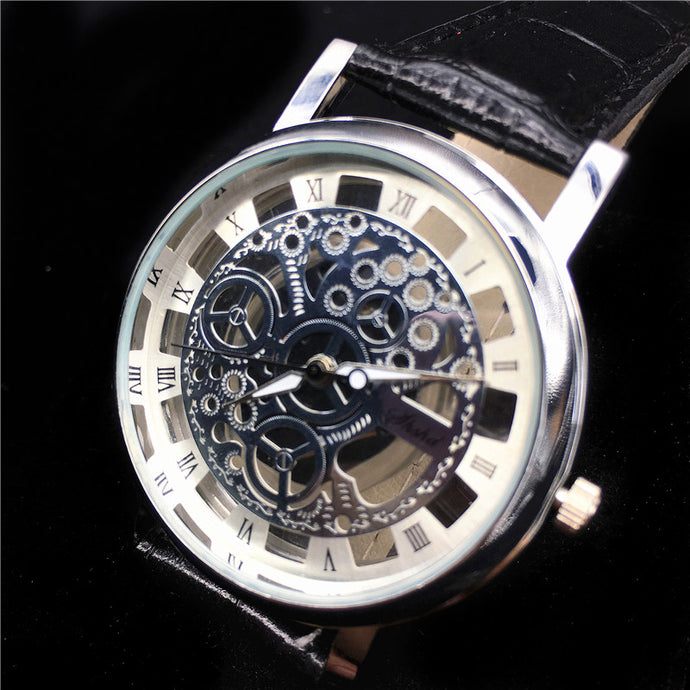 Watches Sleek Skeleton Leather Quartz Watch For Men