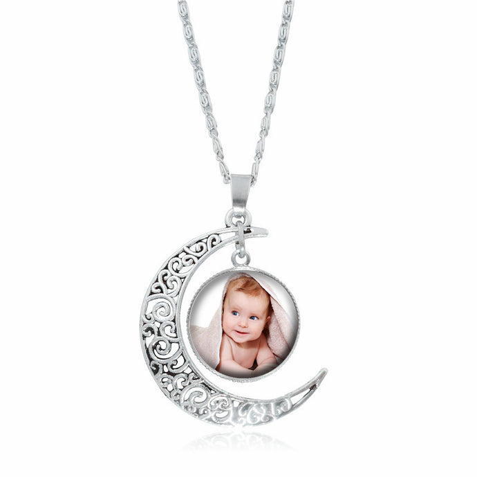 Necklace Silver Moon Personalized Photo Necklace