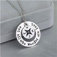 Necklace Compass Necklace. Long Distance Relationship Gifts