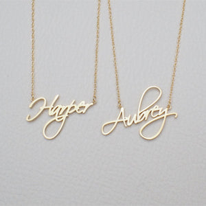 Necklace Name Necklace Cursive Handwriting Chain