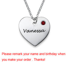 Necklace Personalized Silver Heart Necklace