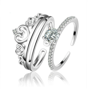 Engagement Rings Queen Halo Crown Solitaire Ring Set
