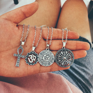 Necklace Ohm Cross Tarot Compass Chain Silver Necklace Set