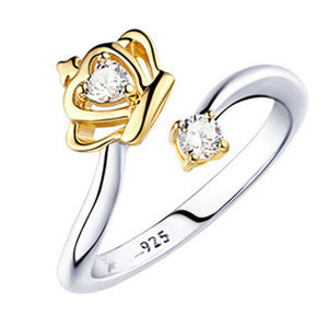 Women Rings Silver Plated Queen Crown Adjustable Ring