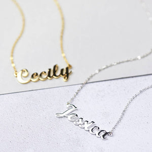 Necklace Personalized Cursive Silver Name Necklace