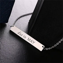 Necklace Engraved Bar Necklace Due Date Month